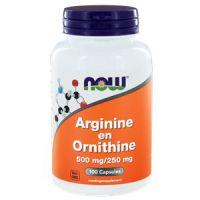 Arginine en Ornithine 500/250 mg NOW